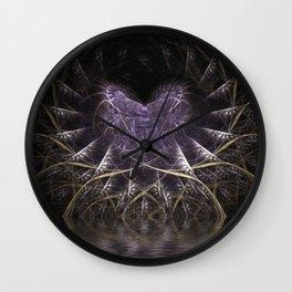 Purple Love Web Fractals Wall Clock