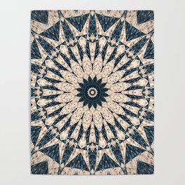 Blue Tan Textured Mandala Design Poster