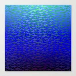 Sharks In Deep Water. Canvas Print