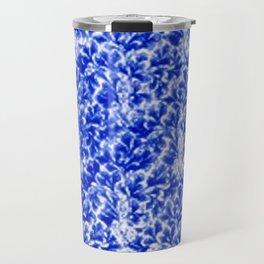 Vintage Floral Lace Leaf Sapphire Blue Travel Mug