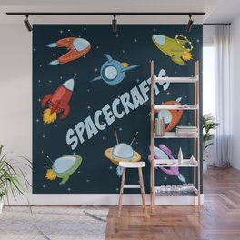 Spacecraft and rockets flying the stars Wall Mural