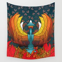 phoenix Wall Tapestries featuring Phoenix by Dusty Goods