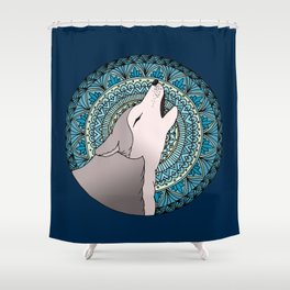 Howling Wolf Mandala Moon Shower Curtain