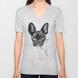 bourbon by CATNEYDOGNEY 2/28/2020 French bulldog frenchie face Unisex V-Neck