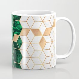 Emerald Cubes And Hexagons Coffee Mug