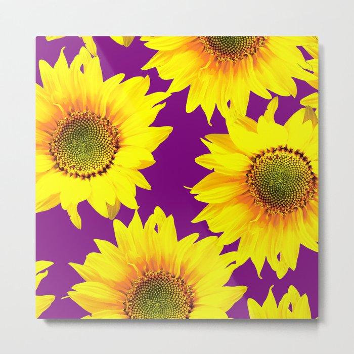 Sunflowers on a purple background - summer mood - #Society6 #buyart Metal Print