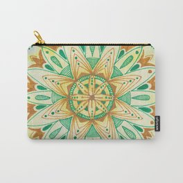 Simple Green/Yellow Mandala Carry-All Pouch