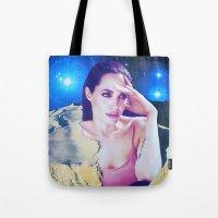 angelina jolie Tote Bags featuring Angelina Jolie by John Turck