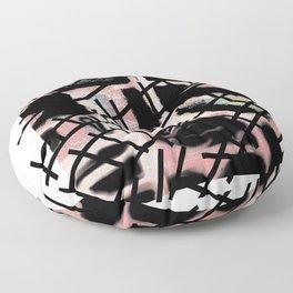 Black Railways Floor Pillow