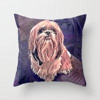 shih tzu Throw Pillows featuring shih tzu smile by elissa iatridis