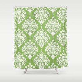 Green Damask Shower Curtain