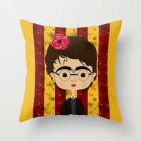 potter Throw Pillows featuring Frida Potter by Camila Oliveira