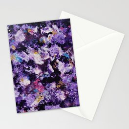 Violet Fields Redux Abstract Painting Stationery Cards