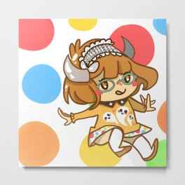 Polka-Dot Cutie Drop Metal Print