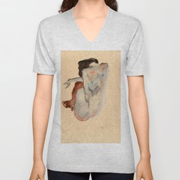 Egon Schiele - Crouching Nude in Shoes and Black Stockings, Back View Unisex V-Neck