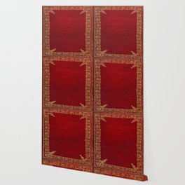 Red and Gilded Gold Book Wallpaper