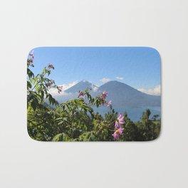 Lago Atitlan and flowers Bath Mat