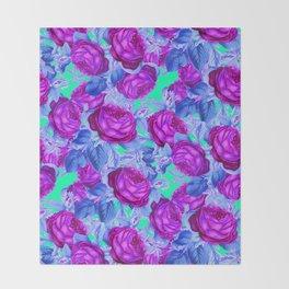 Blacklight Roses Throw Blanket
