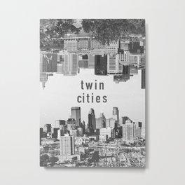 Twin Cities Minneapolis and Saint Paul Minnesota Skylines Metal Print
