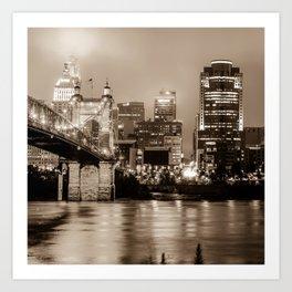 Cincinnati Ohio Skyline Cityscape in Sepia 1x1 Art Print