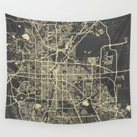 denver Wall Tapestries featuring Denver map by Map Map Maps
