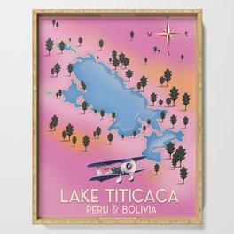 Lake Titicaca, Peru, Bolivia lake map travel poster. Serving Tray
