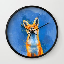 Happy Fox, inspirational animal art Wall Clock