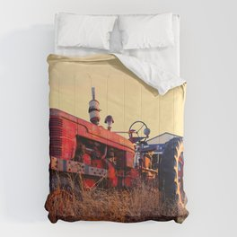 old tractor red machine vintage Comforters