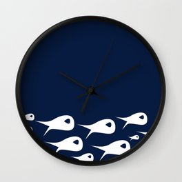Fish Stripe 2. Minimalist Mid-Century Modern Fish School in White on Nautical Navy Blue Solid Wall Clock