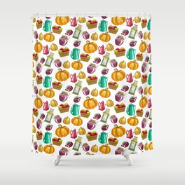 Autumn  Pattern with Food and Drink and Lamp Shower Curtain