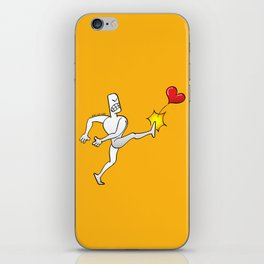 Mad Man Kicking a Heart iPhone Skin