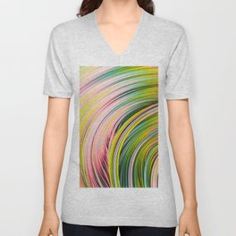 Colorful Strands. Abstract Art Unisex V-Neck