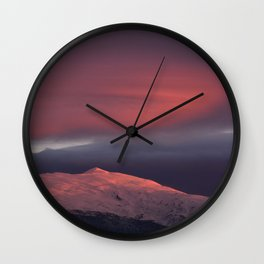 Lenticular clouds over Caballo mountain. Sierra Nevada National Park Wall Clock