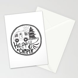 happy camper in black and white Stationery Cards