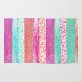Tropical Stripes - Pink, Aqua And Peach Colorway Rug