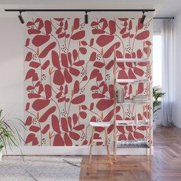 Red flowe modern flower pattern  Wall Mural
