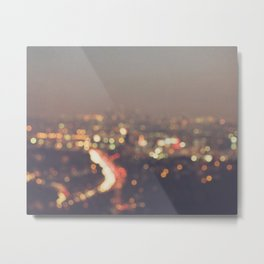 Los Angeles at night photo. Abstract Mulholland Metal Print