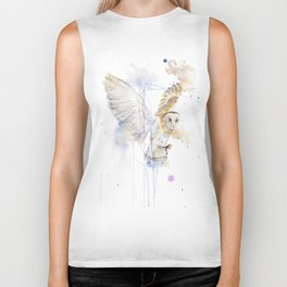 "Watercolor Painting of Picture ""White Owl"" Biker Tank"