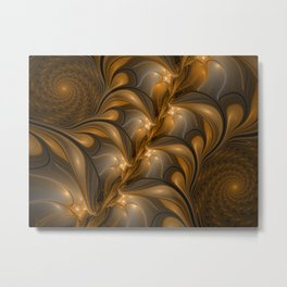 Warming, Luminous Abstract Fractal Art Metal Print