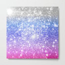 Galaxy Sparkle Stars Periwinkle Pink Metal Print