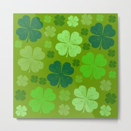 Saint Patrick's Day, Four Leaf Clovers - Green Metal Print