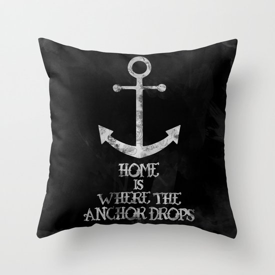 Where The Anchor Drops (Black) Throw Pillow by Zach Terrell Society6