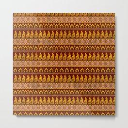 Thai Fabric Patterns - Golden Temple Colour Palette Metal Print