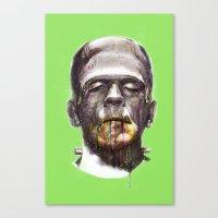 frankenstein Canvas Prints featuring Frankenstein by beart24