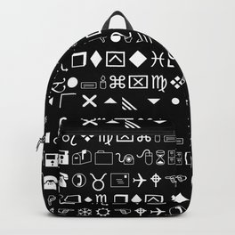 Wingdings Symbols Black Background White Font Backpack