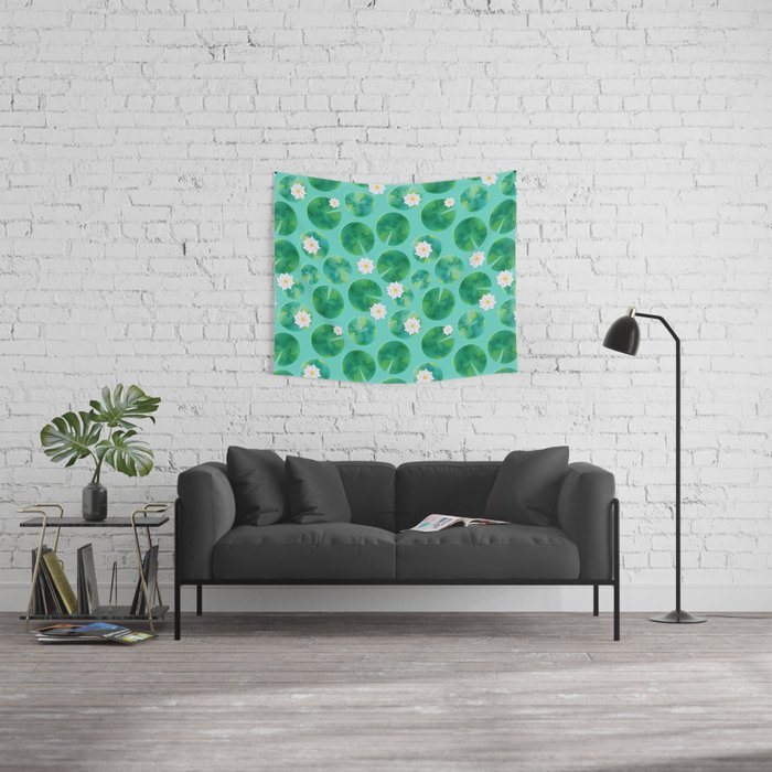 Lily Pads & White Water Lily Flowers Wall Tapestry