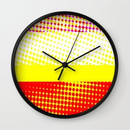 Red Yellow Stripe Pattern Design Wall Clock