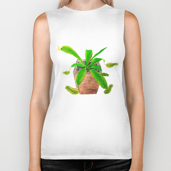 tropical pitcher plant watercolor painting Biker Tank