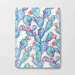 Rainbow Watercolor Cactus Pattern Metal Print