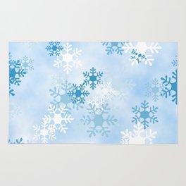 Blue White Winter Snowflakes Design Rug
